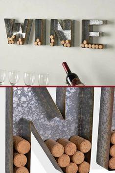 WINE Letter Set Cork Holder, Wall Decor, Wall Art, Galvanized, Metal, Wine Lover, Home Decor, Urban Chic #ad