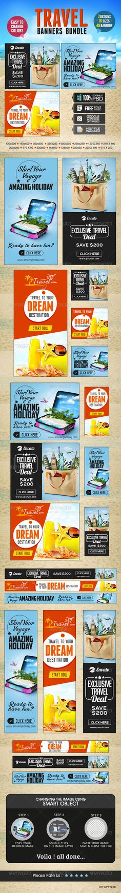 Travel Banner Set Bundle - 3 Sets Template PSD | Buy and Download: http://graphicriver.net/item/travel-banner-set-bundle-3-sets/8469231?WT.ac=category_thumb&WT.z_author=doto&ref=ksioks