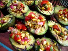 Grilled Avocado with Fresh Tomato Salsa - I'm not so sure I like the grilled Avo bit, maybe fresh Avo better?
