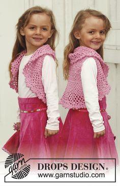 """Crochet DROPS bolero in """"Muskat"""". Size 3 - 12 years."""