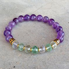 Healing and Cleansing, Amethyst and Fluorite gemstone mala bracelet