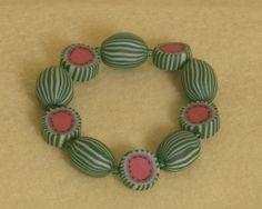 watermelon polymer clay bead bracelet by food2wear on Etsy, $12.00