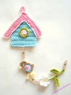 Crochet Birdhouse Pattern, Garland, PDF Pattern,  Wall Hanging, Decor, Nursery Decoration, Tutorial, Download Immediately, Digital download