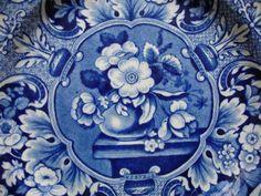 Dark Blue & White Davenport Floral Staffordshire Plate