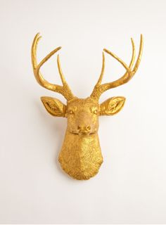 The Franklin | Stag Deer Head | Faux Taxidermy | Gold Resin