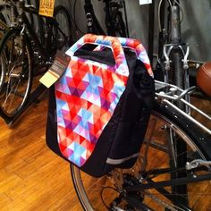 Bontrager pannier ($79.99) - Sweet Pete gift idea - funky panniers bags. The clips hide away and it has a shoulder strap. Also available in black.
