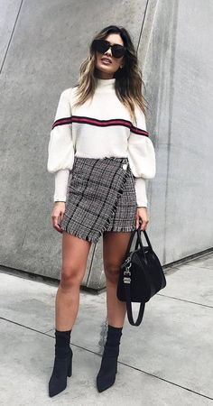 skirt for fall, fall skirt, styling skirt, styling fall skirt, black booties, black boots, sock booties, street style 2017, white sweater, styling white sweater, white striped sweater, sweater outfit, black handbag