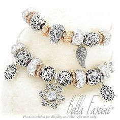 BELLA FASCINI® Lights Bead Charm 925 Sterling Silver Fits Pandora, Charmed Memories & More (Clear): Jewelry