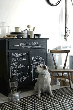 inspiration: first, the dog, and the chair and chalkboard cabinet (love this idea) Decor, Chalkboard Paint Furniture, Blackboard Paint, Painted Furniture, Blackboards, Chalk Paint Furniture, Paint Furniture, Chalkboard, Chalkboard Cabinet