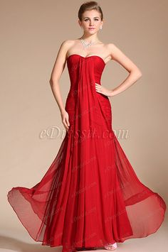 2014 New Graceful Red Strapless Evening Dress Prom Gown (C00094702)