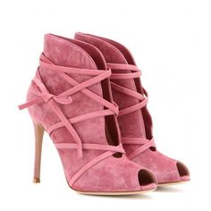 Gianvito Rossi mytheresa.com Exclusive Suede Open-Toe Ankle Boots ($600) ❤ liked on Polyvore featuring shoes, boots, ankle booties, booties, heels, pink, short heel boots, pink booties, heeled ankle boots and suede bootie