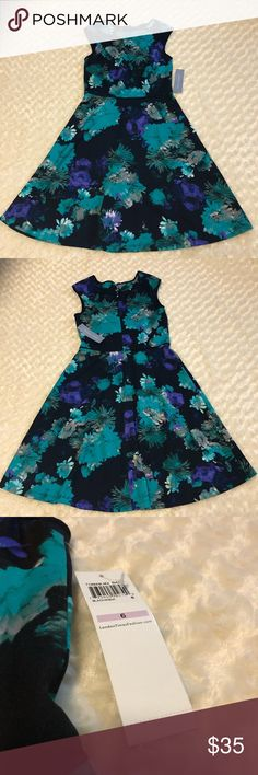 London Times dress Beautiful, floral dress! Great to wear to a party! Black with teal and purple flowers. London Times Dresses