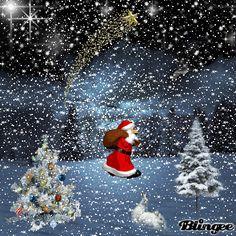 Christmas - Santa walking in the falling snow, delivering Christmas presents. Christmas Scenes, Noel Christmas, Vintage Christmas Cards, Christmas Pictures, Christmas Greetings, Winter Christmas, Gif Noel, Holiday Gif, Illustration Noel