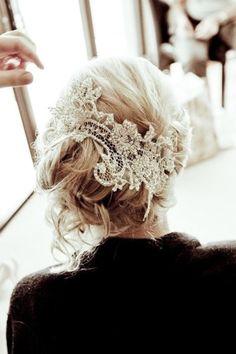 lace hair piece cut from mom or grandmas wedding dress..love!