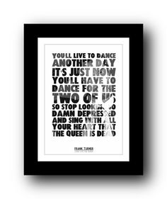 FRANK TURNER - Long Live the Queen - Typography poster art prints from PHOOG
