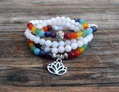ON SALE Chakra 108 Mala wrap bracelet or necklace 7 Chakra