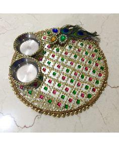 Pooja platter peacock feather Rangoli Designs Flower, Rangoli Designs With Dots, Flower Rangoli, Henna Designs, Diy Diwali Decorations, Indian Wedding Decorations, Festival Decorations, Flower Decorations, Arti Thali Decoration