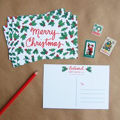 Merry Christmas Postcard Set by Happy Cactus Designs