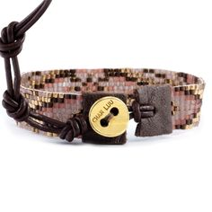 Red Mix Single Wrap Bracelet on Brown Leather - Chan Luu