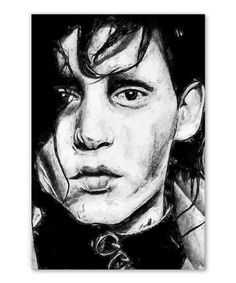 tableau-portrait-edward-aux-mains-argent-tim-burton-01 Tim Burton, Tableau Pop Art, Portrait, Black And White Style, Edward Scissorhands, Impressionism, Canvas, Men Portrait, Portraits