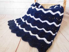 Navy and white baby boy blanket. Nautical baby blanket. This is a very special handmade crochet baby blanket.  This baby afghan will make a wonderful baby shower gift.  This blanket would make a lovely addition to your baby nursery decor. Perfect also, for travel, strollers, prams, cribs, tummy time and photo props.