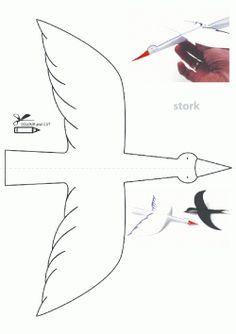 Kuş Kalıbı. Stork Bird printables. Molde del pájaro.птица.
