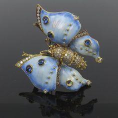Vintage 1.50ct Diamond 1.25ct Sapphire Blue Enamel 18K Gold Butterfly Brooch