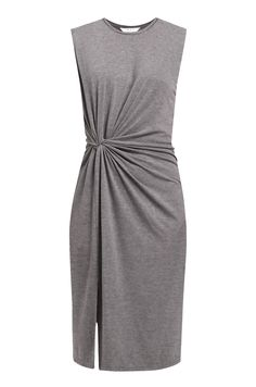 Twist Knot Jersey Dress in Grey  Step out in style this season with our sleeveless jersey dress. This dress features a playful front split, inner lining and twist knot waist. Wear with heels and create an elegant silhouette.   https://www.paisie.com/collections/new-in/products/twist-knot-jersey-dress-in-grey
