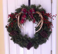 Christmas wreath with antlers
