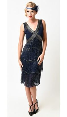 85b8d8b2ffe97 Unique Vintage Navy   Silver Beaded Fringe Countess Flapper Dress Pin Up  Dresses