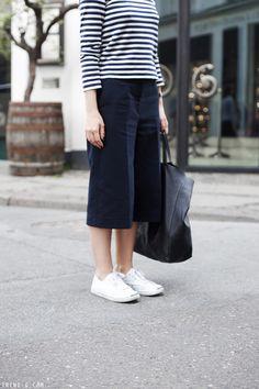Trini | 3.1 Phillip Lim culottes - Comme des Garçons PLAY striped tshirt - Converse Jack Purcell sneakers - Céline cabas bag