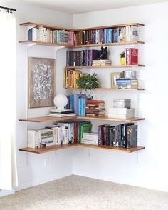 DIY Wall-Mounted Shelving Systems Easy to Install One of my favorite small space hacks is swapping your bookcases for wall-mounted shelving. We've created roundups of wall mounted shelving systems before, but for those of you who are especially crafty t Design Ikea, Diy Design, Design Trends, Design Room, Library Design, Etagere Design, Sweet Home, Diy Casa, Wall Mounted Shelves