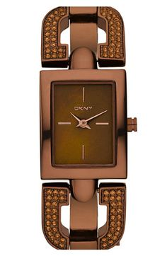 DKNY 'Glitz' Small Rectangular Bangle Watch