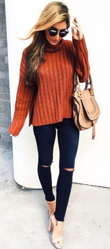#fall #outfits / orange knit