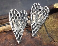 Handmade Heart Charms. Artisan Jewelry Making by Inviciti on Etsy - handmade charms - handcrafted charms - artisan charms - jewelry making accessories - pewter charms