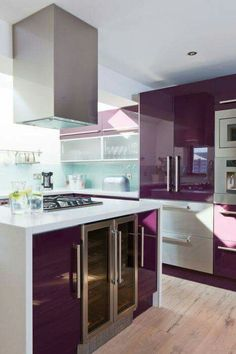 This purple kitchen sings! The sleek contemporary cabinets couples with the white creates a space that is dynamic and fun! Purple Kitchen Cabinets, Gloss Kitchen, Kitchen Cabinet Colors, New Kitchen, Kitchen Decor, Kitchen Ideas, Kitchen Units, Purple Home Decor, Kitchen Interior