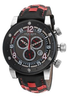 8ae167ac1975 Men s Stylish Akribos XXIV AK612RD Chorno Black   Red Genuine Leather Black  Dail   Polished ION Plated Stainless Steel Case - (Sale Savings)