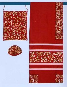 """Embroidered Raw Silk Tallit Set - Marron by ZionJudaica. $100.80. Tallisack Tallit set by Yair Emanuel - Luxurious floray embroidery on raw silk . The Tallit bag can be carried on the shoulder like a fashion bag. The Atara contains the blessing """"Asher Kideshanu Bemitzvotaiv Vezivanu Al Mitzvat Tzizit"""". The set contains a Tallit, bag and a Kippah. Tallit Measures 16"""" x 70""""."""