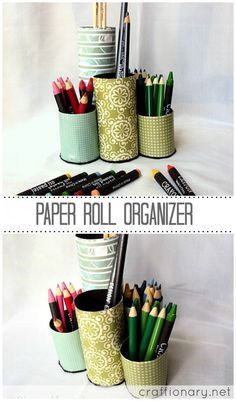 Recycle paper roll organizer
