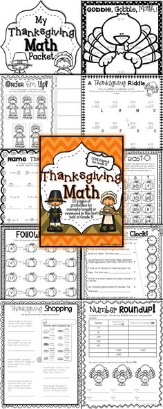 Turkey math mystery pictures on Super Teacher Worksheets