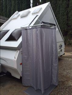 Outdoor shower enclosure for Aliner Mod.  Great idea