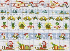 Cross stitch chart borders for Christmas