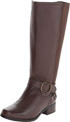 dd76f5051e61 Fitzwell Women s Mentor Extra Wide Calf Brown Burnished Leather Boot 6 M  Fitzwell http