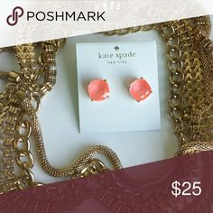 Kate Spade Stud Earrings Pinkish peach colored studs for pierced ears, girly and fun!  **Kate Spade color is FLO PINK (I assume they mean fluorescent LOL) kate spade Jewelry Earrings
