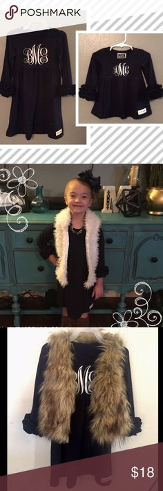 Oh My Ruffles Boutique Navy Kynlee Tunic/Dress This ADORABLE Kynlee Tunic (or wear as a dress!) from Oh My Ruffles Girls Boutique is perfect to pair with so much! Looks amazing w/ fur vest, boot socks & boots! Top with one of our perfect bows! Available in sizes 6m-14!! Add a custom vinyl monogram for only $5!!! To check styles, sizes, colors, etc - go to Ohmyruffles.com Oh My Ruffles Boutique Dresses Casual