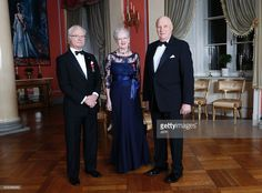 Picture taken on January 17, 2016 at the Royal Castle in Oslo shows (L-R) King Carl Gustaf of Sweden, Queen Margrethe of Denmark and King Harald of Norway on the occasion of the 25th anniversary of King Harald's ascension to the throne. / AFP / NTB SCANPIX / Aserud, Lise / Norway OUT        (Photo credit should read ASERUD, LISE/AFP/Getty Images)
