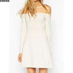 Choies Sexy Women White Black Off Shoulder Slash Neck Slim Casual Mini Dress…