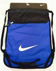 Nike Team Drawstring Training Gym Sack Zipper Pocket Backpack Bag Blue Authentic #Nike #Backpack