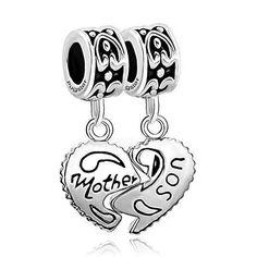 516bd7124 Silver Plated Mother And Son Heart Charm Beads Pandora Bracelet Mom Love  Náhrdelníky, Šperky,
