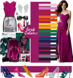 Color purple fuchsia combined in clothing Цвет фиолетовая фуксия сочетается в одежде
